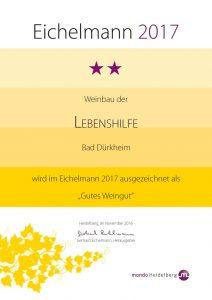 Unsere Auszeichnung im Eichelmann 2017