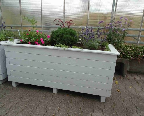 Blumenkasten Holz grau Schreinerei Lebenshilfe
