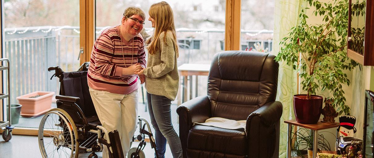 Elke Kraus ist im betreuungsintensiven Wohnen, dem Jan-Daniel-Georgens-Haus zu Hause.